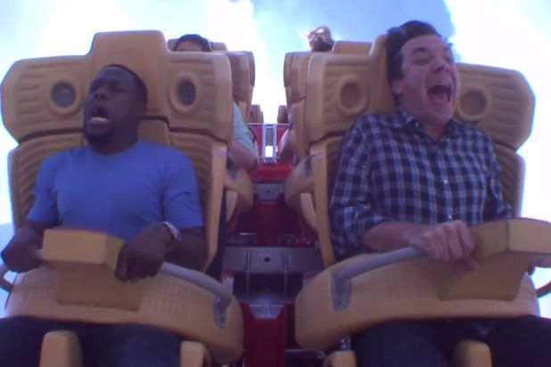 Kevin Hart and Jimmy Fallon Scream Through Terrifying Roller Coaster Ride (Video) - TheWrap I CAN'T stop laughing when I watch this clip!
