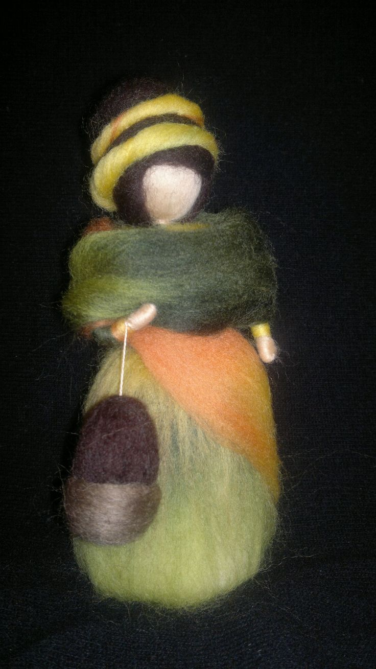 Autumn Fairy, acorn bag, Seasonal table, Home Decor, Waldorf needle felted
