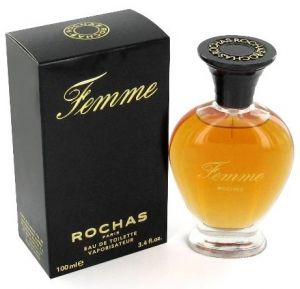 Femme Rochas Rochas Femme Rochas is a splendid perfume which is not aimed for every person, he is more into a fatal woman. The perfume was reconstructed in 1989 and has become lighter and gourmand thanks to the peach note in harmony with plum. Base notes are: bergamot, peach, pear, rose, an immortal, jasmine, ylang-ylang, grey amber, musk, oaken moss and sandal. The lovely bottle retails woman curves.