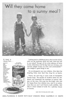 Campbells Tomato Soup for Children 1932 Ad. Will they come home to a sunny meal? Do not disappoint your own children. Give them the tempting, lively, tasty food they long for so keenly. This soup has the bright color and the happy flavor that children love. Meal Planning is easier with daily choices from Campbells 21 Soups. Campbell Soup Company, Camden, New Jersey, USA.