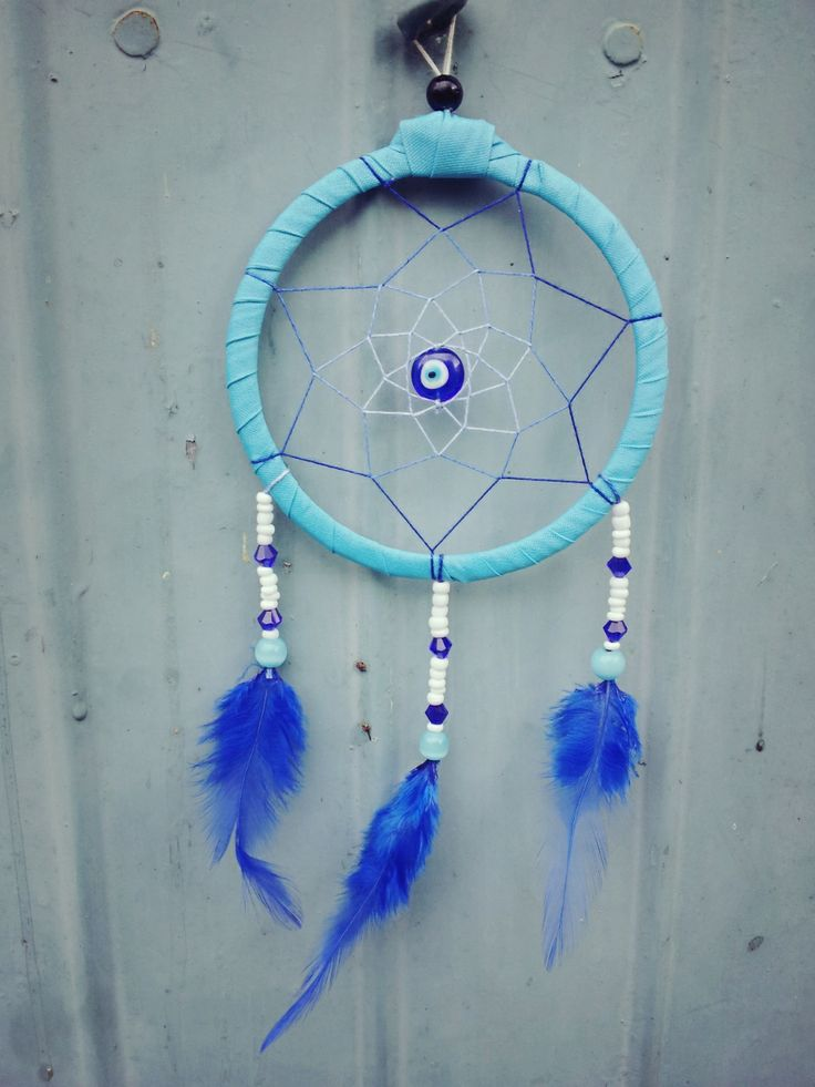 hhandmade dreamcatcher using curtain ribbon band,beads and feathers.. :)