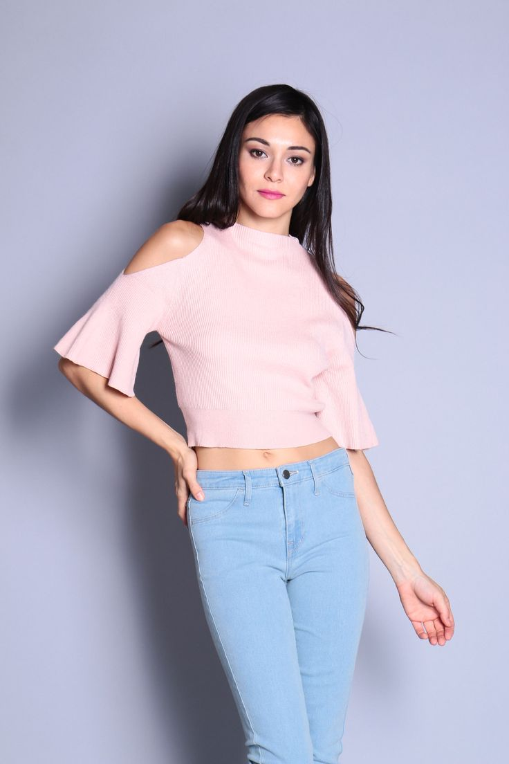 Cut-Out Bell Sleeve Knit Top (Pink) SGD$ 29.00