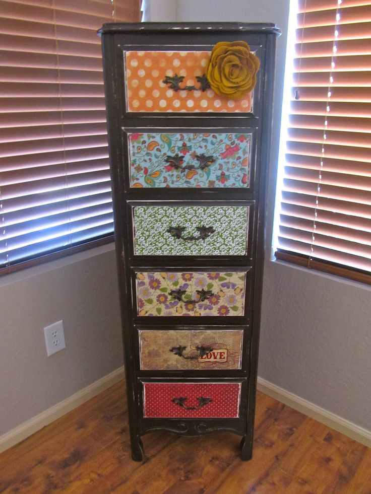 """Lingerie Dresser"": AFTER Spray paint, mod podge, and scrapbook paper make a funky, mismatched dresser."