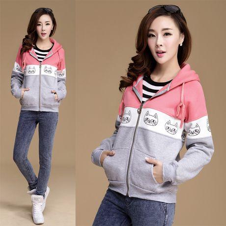 4 cores! S, m, l! Gato dos desenhos animados sportswear grosso casaco da moda inverno quente hoodie mulheres moletom 2014 novo 17.66