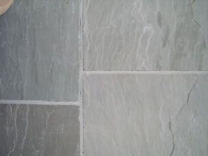 Grey Natural Indian Sandstone Patio Paving Slabs/Flags. Pack Coverage 18m2