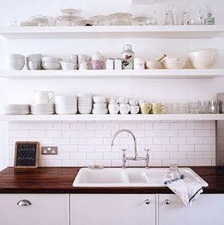Open shelving, subway tile, and butcher block countertop...  Dream kitchen!!!