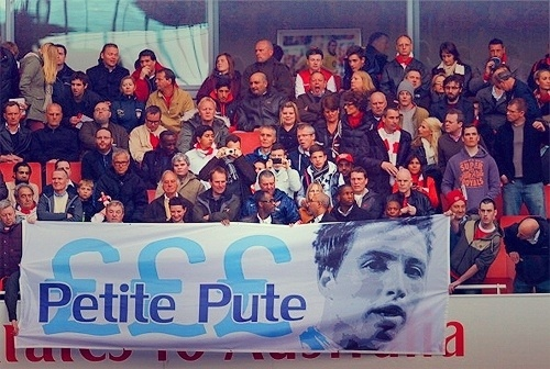 Arsenal's banner for Nasri. 'Petite Pute' means 'Little Bitch