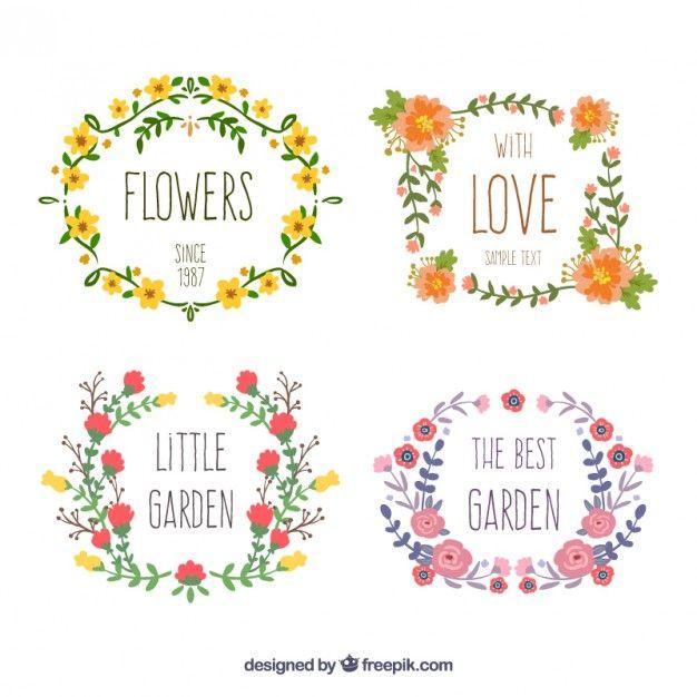 Desenhadas mão coroas de flores Vetor grátis