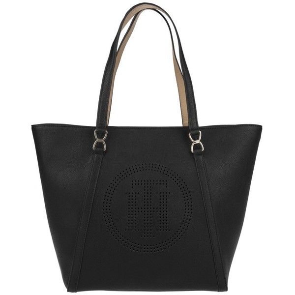 Tommy Hilfiger Handle Bag - Fashion Novelty Tote Perforated Black - in... ($140) ❤ liked on Polyvore featuring bags, handbags, tote bags, black, tote purses, perforated tote, tommy hilfiger purses, tommy hilfiger and tommy hilfiger tote