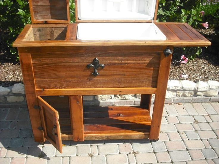 Wooden ice chests on stands custom rustic for How to make a cooler table