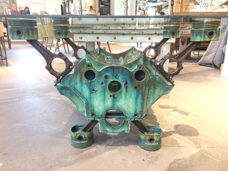 1973 Pontiac Firebird engine block coffee table in a nice green faux patina. Now available for purchase, message me for more details.