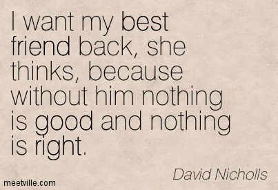 """""""I want my best friend back, she thinks, because withouth him nothing is good and nothing is right"""" ~David Nicholls (One Day)"""