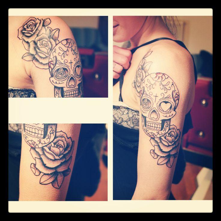 #skulltattoo -  rose tattoo - sugar skull tattoo -  mexican skull tattoo