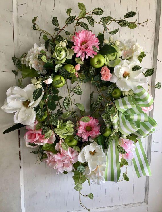 Spring Wreath Apple Wreath Wreath for Door Front Door