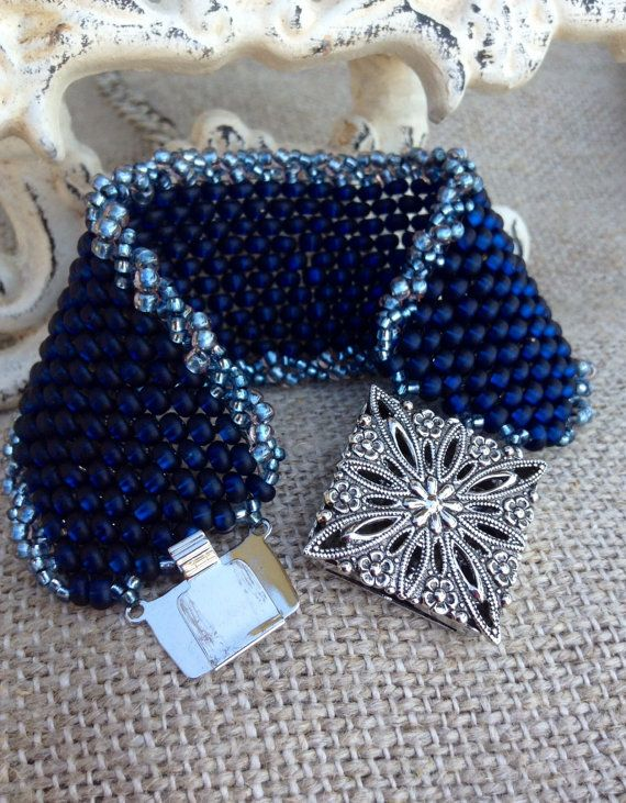 Beaded Cuff Peyote Stitch Bracelet ~ Denim Blue Country Cuff~ Vintage-like Silver Clasp Seed Bead Beauty~ Peyote Chic by Country Chic Charms