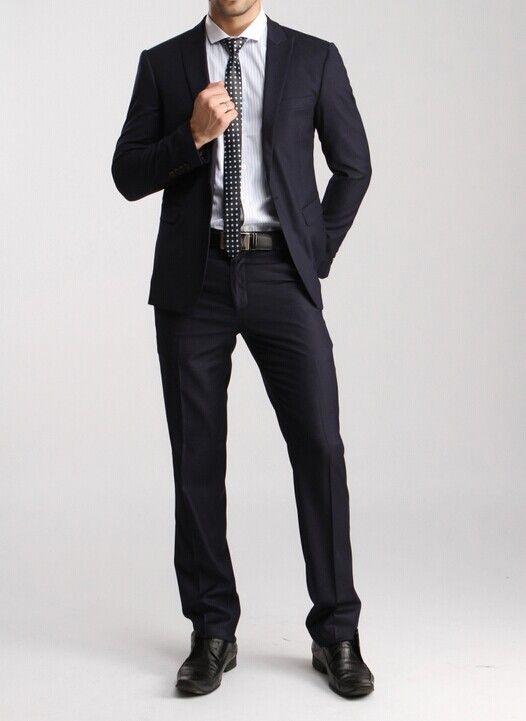 Brand Deep blue one button Korean style men suits Fashion wedding suits for men Modern tuxedos for men