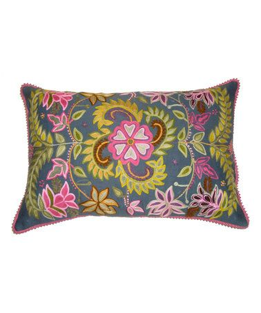 Gray Crewel Embroidered Throw Pillow