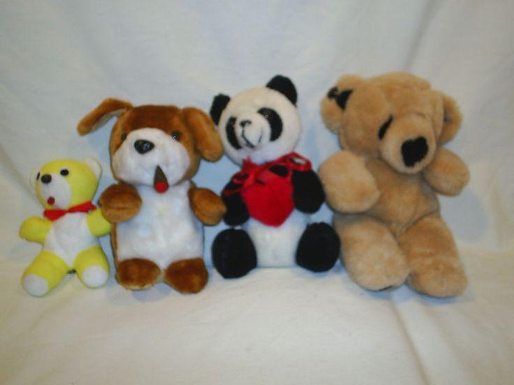 Lot of 4 Stuffed Plush Animals Dog Panda Bear #NA