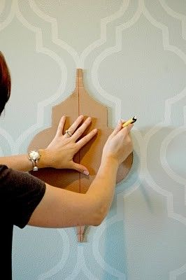 Painted wallpaper- using a stencil. Oh I like this idea SO much better than wallpaper.  Mom had to strip a ton of wallpaper off the walls - I don\t want that to be me in 10 years!!  Would love to have something stylish that I can paint over when it gets old!