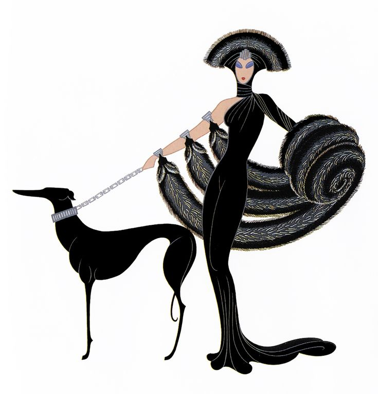 10 Of Our Favourite Fashion Illustrators:  Romain de Tirtoff was a Russian-born French artist and designer known by the pseudonym Erté, the French pronunciation of his initials, R.T. – At the Theatre, Symphony in Black