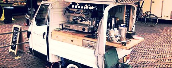 Italian style coffee truck, fitted with a Wega coffee machine is all you need to make a viable business with no landlord