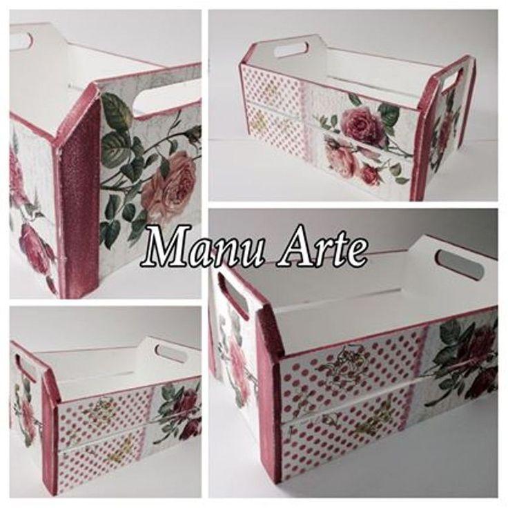 Caixote decorado Rosas | Manu Arte Ateliê | Elo7