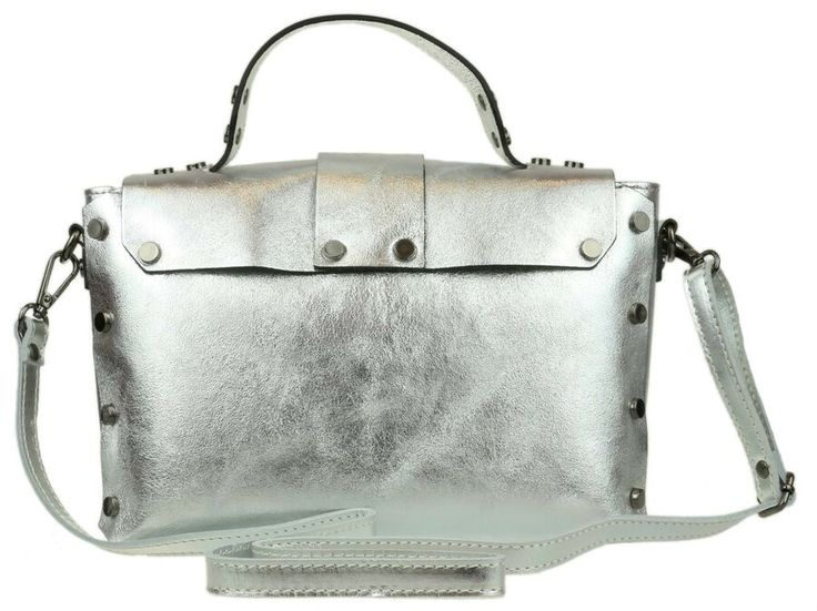 Womens Genuine Leather Satchel Plain Vera Pelle Crossbody Briefcase Handbag