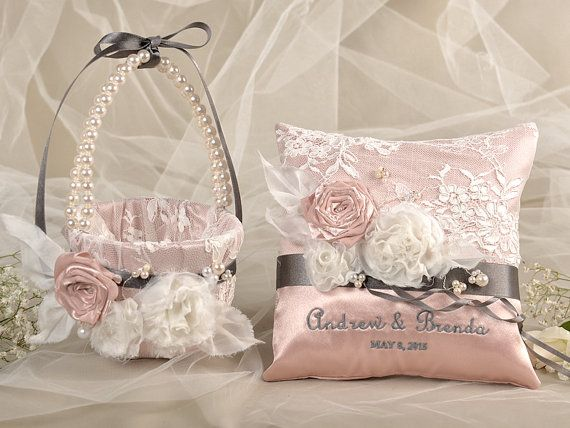 Flower Girl Basket & Ring Bearer Pillow Set, Peach Satin nad cream Lace, Embriodery Names, Flowers and Pearls on Etsy, $85.00