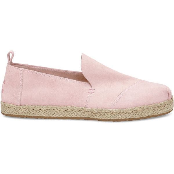 Toms Deconstructed Alpargata Espadrille Slip On (46.495 CRC) ❤ liked on Polyvore featuring shoes, pale pink, toms footwear, toms espadrilles, toms shoes, slip on shoes and espadrilles shoes