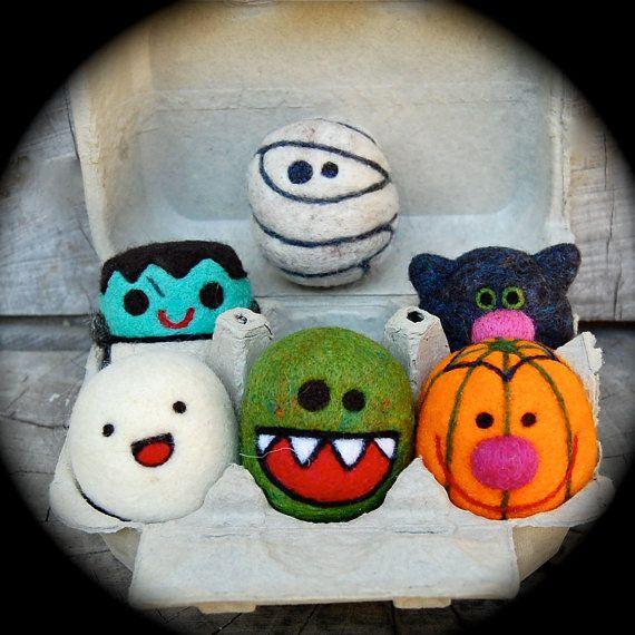 So cute it's SCARY! Needle Felted Wool Halloween Toy Set  ghost  by asherjasper, $125.00