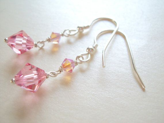 Swarovski Pink crystal dangle earrings in sterling silver (925)