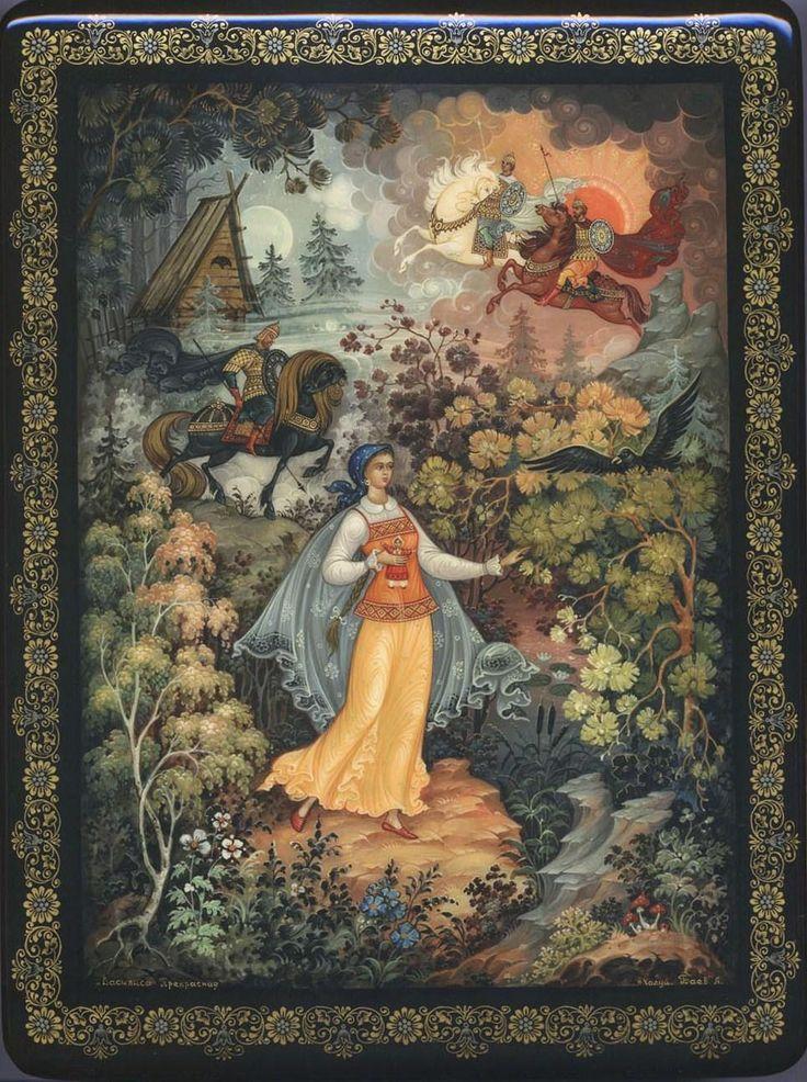 Baev A, Kholui lacquer box, Vasilisa the Beautiful