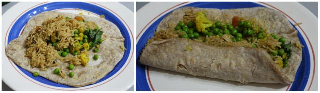 Indian Burrito! Homemade Chapati filled with curry and rice.