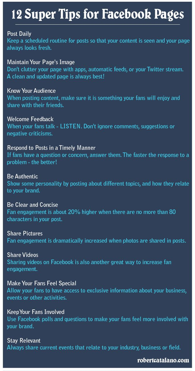 12 Super Tips for Facebook Pages  ***Repinned by Normoe, the Backyard Guy (#1 backyardguy on Earth) Follow us on; http://twitter.com/backyardguy