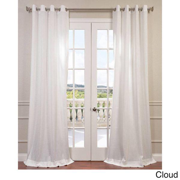 Exclusive Fabrics Faux Linen Grommet Top Curtain Panel (50 X 84 – Sand), Brown