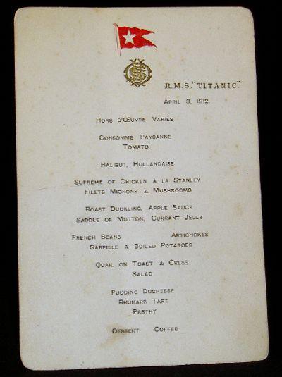Menu from Titanic, Dated April 3, 1912