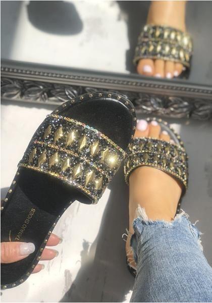 b7414aba4b5457 Black Round Toe Rhinestone Fashion Ankle Sandals in 2019