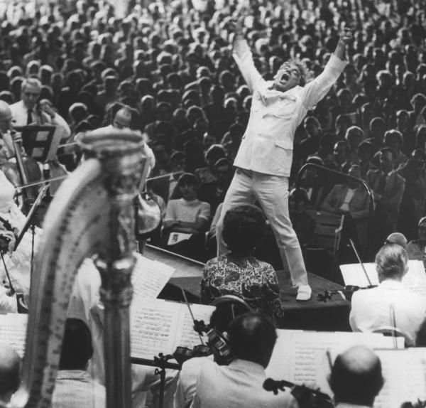 """Leonard Bernstein at the conclusion of Mahler's """"Resurrection"""" Symphony"""