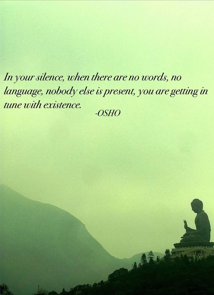 In your silence, when there are no words, no language, nobody else is present, you are getting in tune with existence - Osho