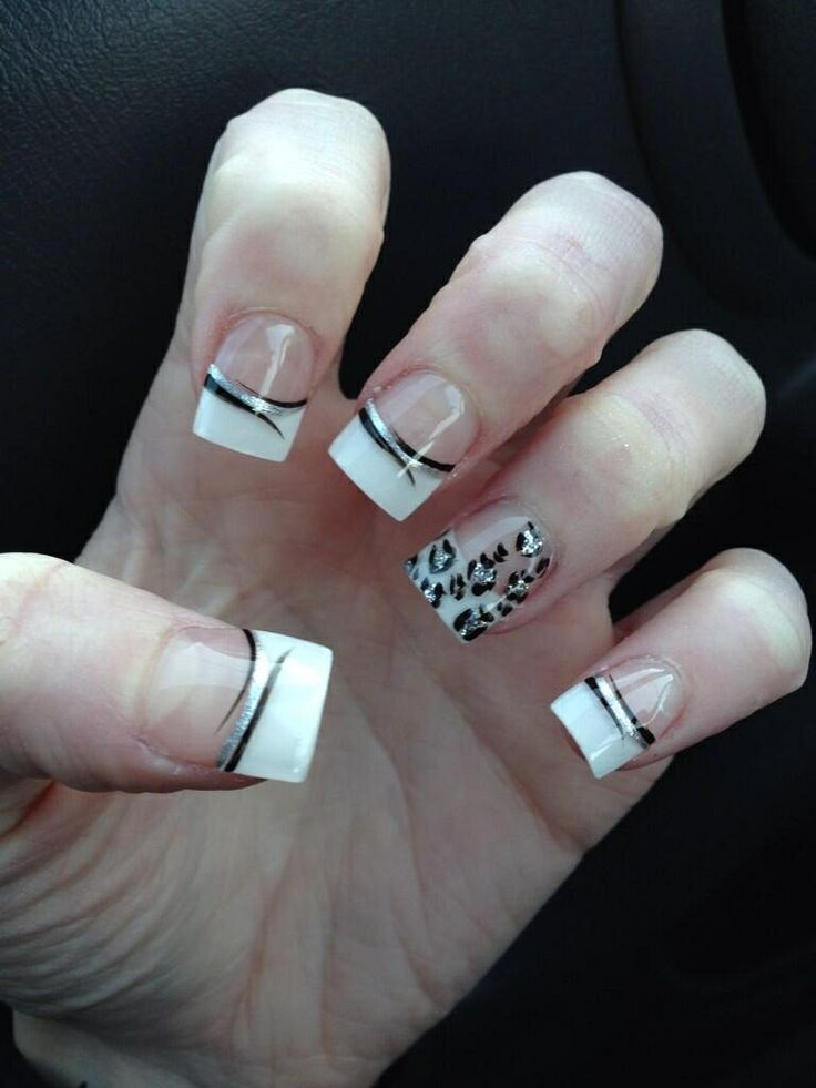 White French Tips With Silver Leopard Print And Black