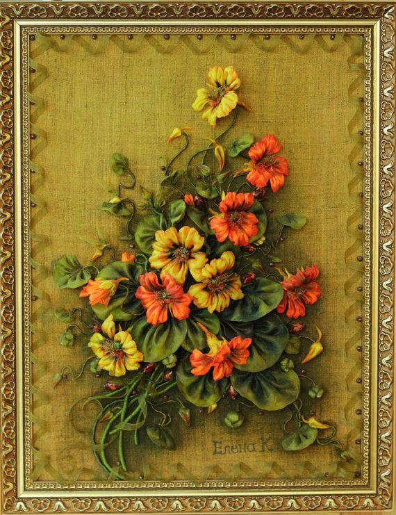 Flower vintage satin ribbon Kanzashi Home by KANZASHIpictures