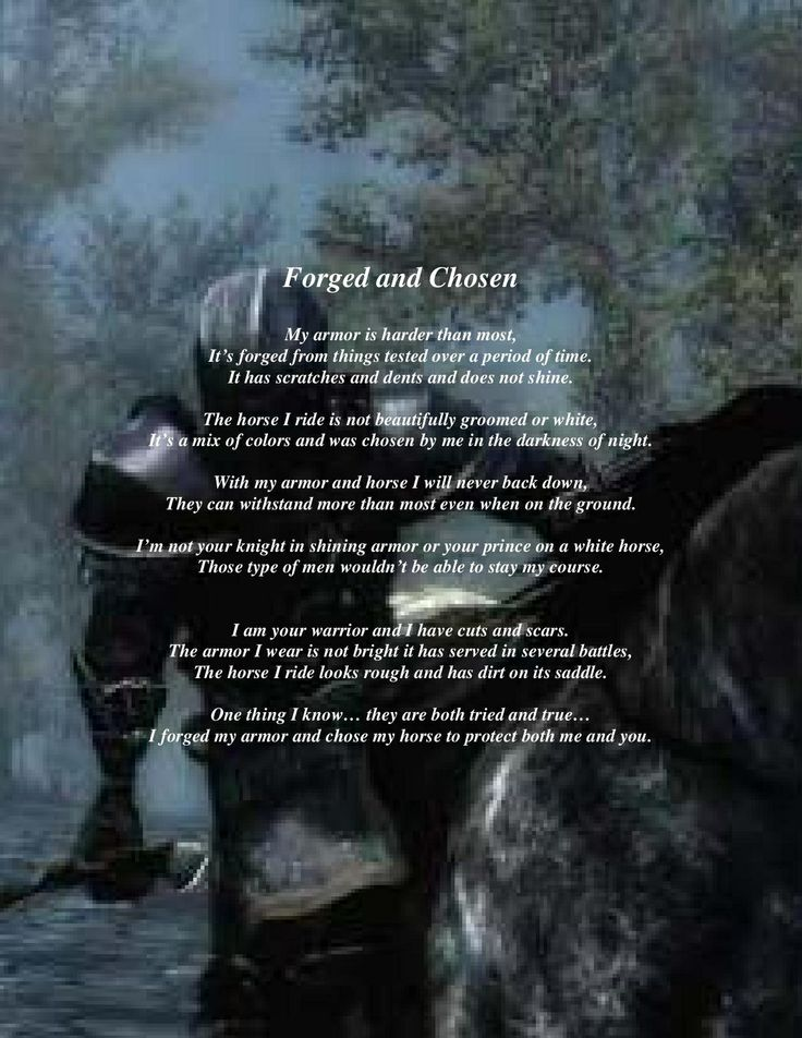 Forged and Chosen warrior poem. Not your knight in shining armor or you prince on a white horse those men are always full of bullshit!