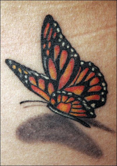 017 - 3D Monarch Butterfly Tattoo - Love the shadow effect - different colors for me though...