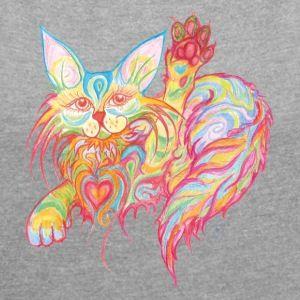 Winkekatze mit Herz - Frauen T-Shirt mit gerollten Ärmeln  Bei AVIELLART findet ihr hochwertige T-Shirts und Accessoires und mit kunstvollen von mir gestalteten Motiven, tolle Hintergründe für lustige Sprüche, die ihr selbst mit dem Designer kreativ gestalten könnt. Eurer Fantasie sind keine Grenzen gesetzt! Viel Spaß!