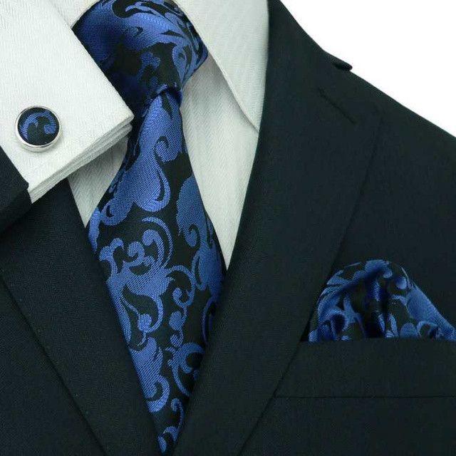 Blue Floral Necktie Set JPM1889F