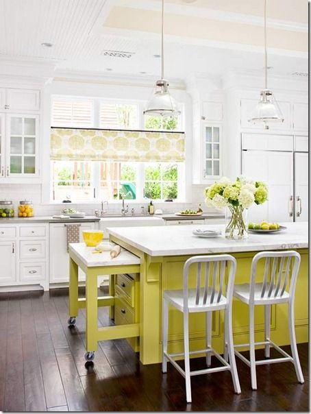 love this kitchen the clean white with beige and yellow