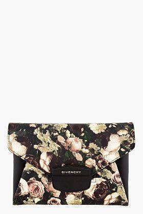 Givenchy Black & Beige Rose Print Antigona Envelope Clutch for women   SSENSE ($1,200.00) - Svpply