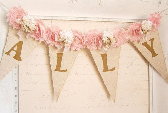 Girl Name Banner Pink and Gold Birthday Shabby by kathyjacobson
