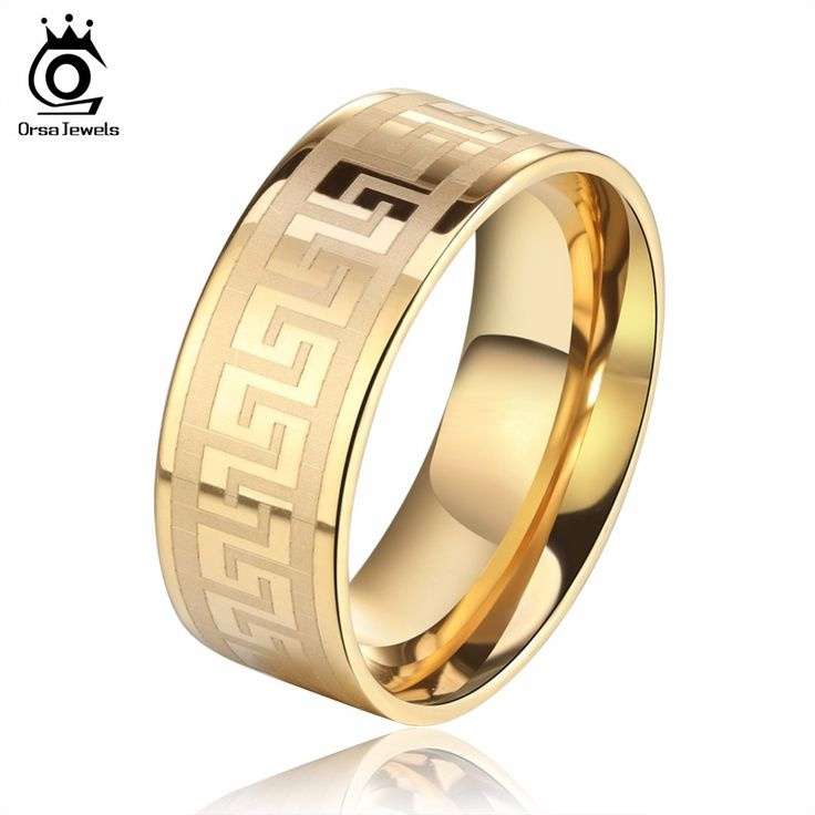 ORSA JEWELS 3 Color Plated Wedding Bands Male Ring Stainless Steel Men's Jewelry for Party Wholesale GTR21