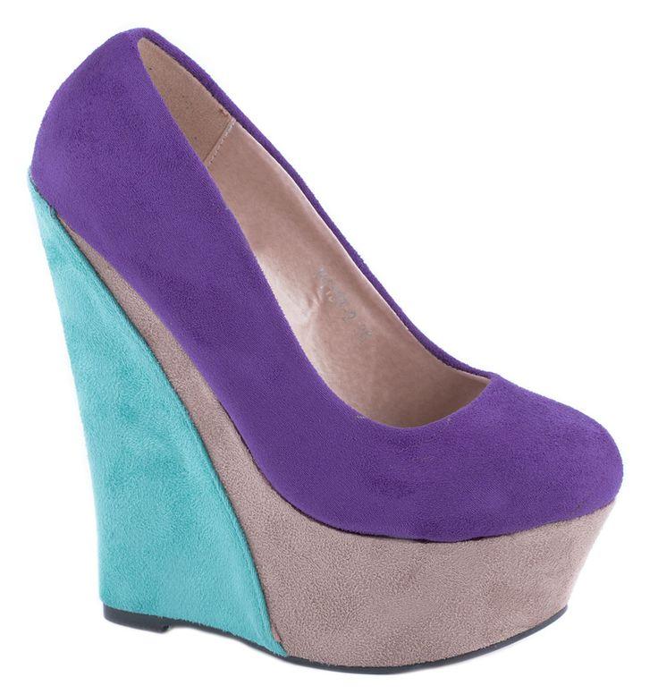 Pantofi cu platforma - Pantofi purple cu platforma H1133-2P - Zibra
